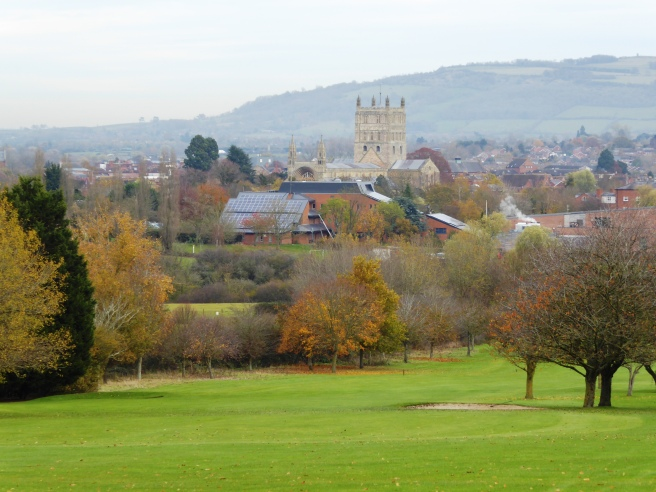 Tewkesbury Abbey in distance