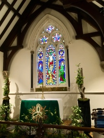 Lovely stained glass behind the altar