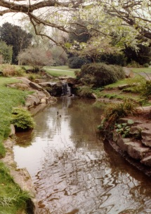 River Chelt diverted into a water feature in Sandford park