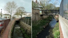 River Chelt Others as it disappears and reappears between Rodney Road and Bayshill Road. by Riverbankscribe